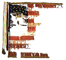 What remains of the 53rd's second flag, borne by the regiment from the Wilderness to Petersburg in 1864. (Advance the Colors)