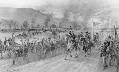 Sheridan in the valley, 1864 General Sheridan and his army in the valley, drawn from life by reporter and artist James E. Taylor. (The James E. Taylor Sketchbook)